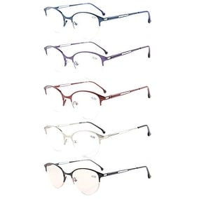 Eyekepper 5-Pack Quality Spring Hinges Half-Rim Cat-eye Style Eyeglasses+0.75