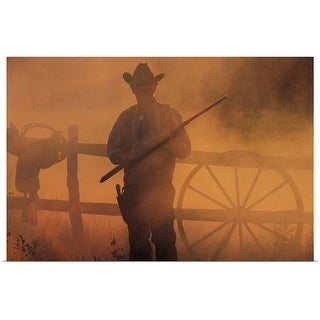 """""""Silhouette of cowboy with rifle in hand"""" Poster Print"""