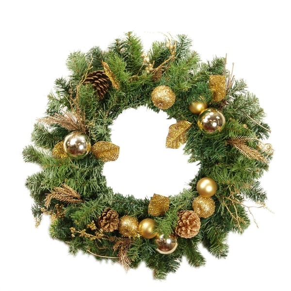 "24"" Pre-Decorated Gold Pine Cone, Apple and Ball Ornament Artificial Christmas Wreath - Unlit"