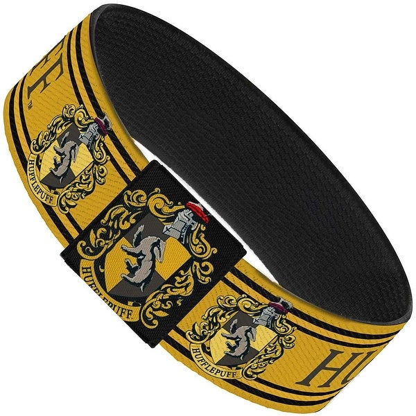 "Hufflepuff Crest Stripe3 Yellow Black Elastic Bracelet   1.0"" Wide"