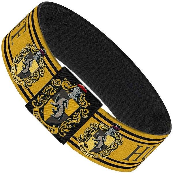 "Hufflepuff Crest Stripe3 Yellow Black Elastic Bracelet 1.0"" Wide"