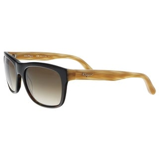 Salvatore Ferragamo SF686S 214 Havana Plastic Modified Rectangle Sunglasses - 56-18-140