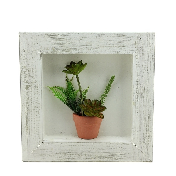 "12"" Artificial Mixed Succulent Plants in a Pot 3-D Wall Art Decoration"