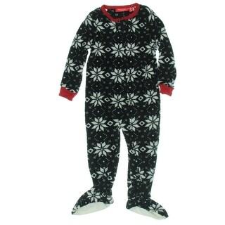 Family PJs One-Piece Pajamas Contrast Trim Fleece