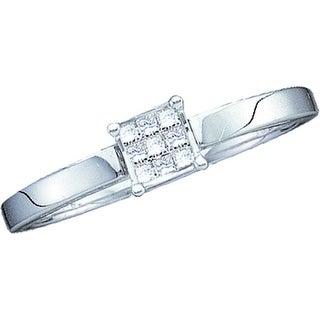 1/10Ctw Diamond Ladies Invisible Ring White-Gold 14K