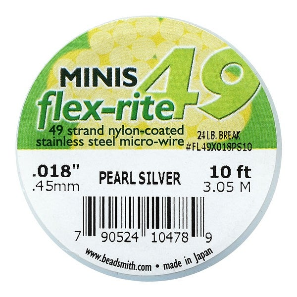 BeadSmith Flex-Rite Beading Wire, 49 Strand .018 Thick, 10 Foot Spool, Pearl Silver