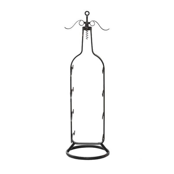 Cabilock 6pcs Metal Wine Racks Wall Mounted Wine Bottle Single Holders Red Wine Bottle Display Holders with Screws for Home Bar Black