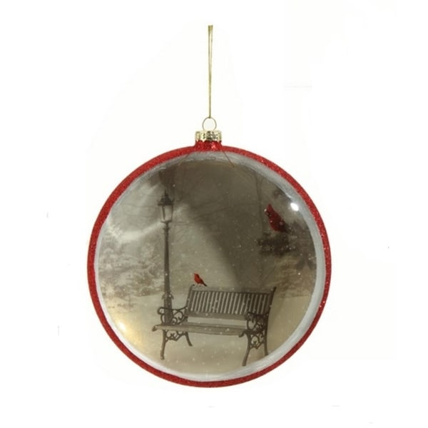 "6.5"" Winter Wonderland Park Bench with Red Cardinals Christmas Disk Ornament"