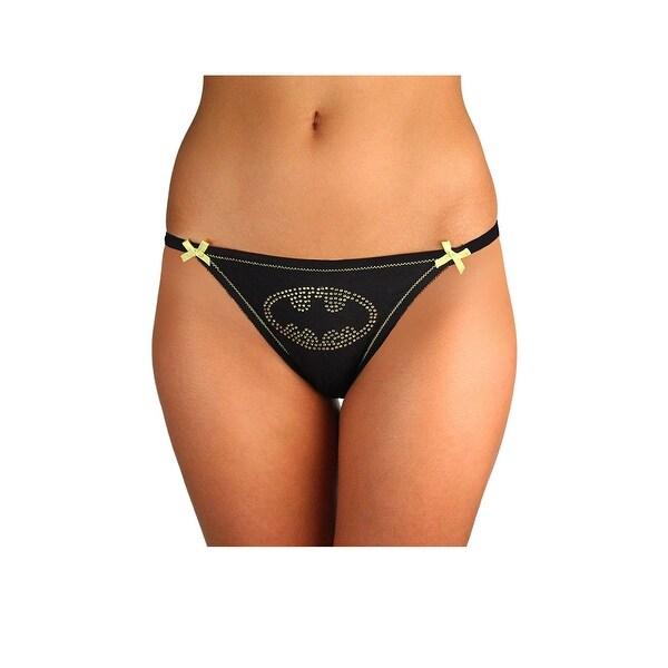 9a44ea67a03 Plus Size Batman Lace Bikini Panty, Plus Size Batman Panty - Black/Yellow -
