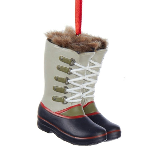 """2.5"""" Fashion Ave Gray and Black with Faux-Fur Trimmed Winter Snow Boots Christmas Ornament"""