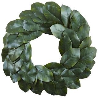"Nearly Natural Home Decorative 24"" Magnolia Leaf Artificial Faux Wreath"