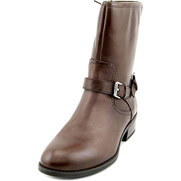 Lauren Ralph Lauren Mesi Women Round Toe Leather Brown Mid Calf Boot
