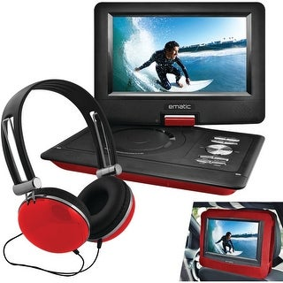 "Ematic Epd116Rd 10"" Portable Dvd Player With Headphones & Car-Headrest Mount (Red)"
