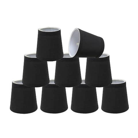 "Aspen Creative Hardback Empire Chandelier Clip-On Lamp Shade (9 Pack), Black, (3"" x 4"" x 4"")"