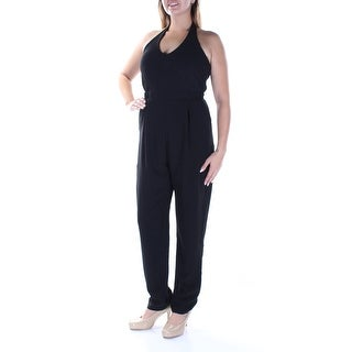 Womens Black Scoop Neck Sleeveless Casual Jumpsuit Size 2XS
