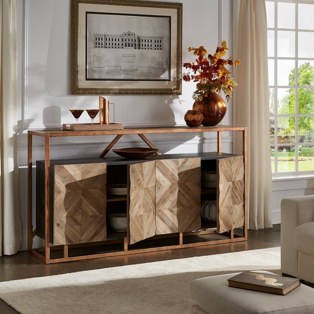 iNSPIRE Q Modern Halimah Copper Finish and Diamond Pattern Reclaimed Wood Buffet