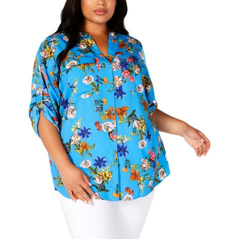 Calvin Klein Womens Plus Button-Down Top Floral Print Rolled Sleeves - Blue - 2X