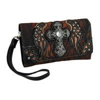 Moonlight Camo Rhinestone Angel Wing Cross Western Wallet w/Removable Straps
