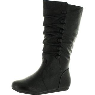 Top Moda Bank-78 Womens Mid Calf Round Toe Stiching Flat Boots