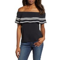 Gibson Black White Womens Size XS Textured Off The Shoulder Blouse
