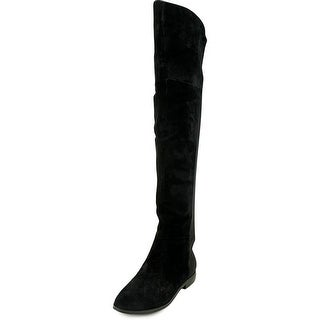 Chinese Laundry Riley Women Round Toe Suede Black Over the Knee Boot