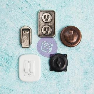Prima Marketing Junkyard Findings Metal Trinkets-Switches & Outlets 5/Pkg