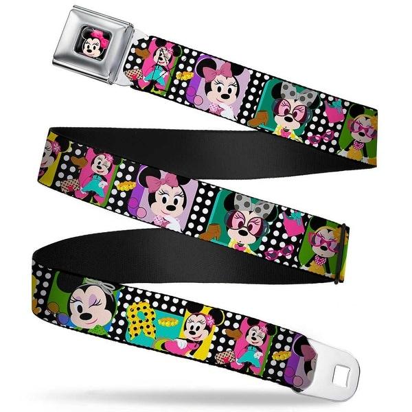 Mini Minnie Mouse Face Close Up Full Color Black Mini Minnie Fashion Poses Seatbelt Belt