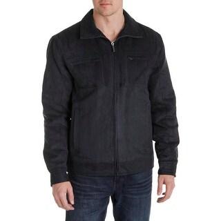London Fog Mens Coat Microsuede Long Sleeves