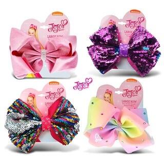 "Jojo Siwa Pink Glitter, Purple Sequin , Rainbow Sequin & Pastel Rainbow Ponytail Bows with Rhinestones 7""x5"" (4 Items)"