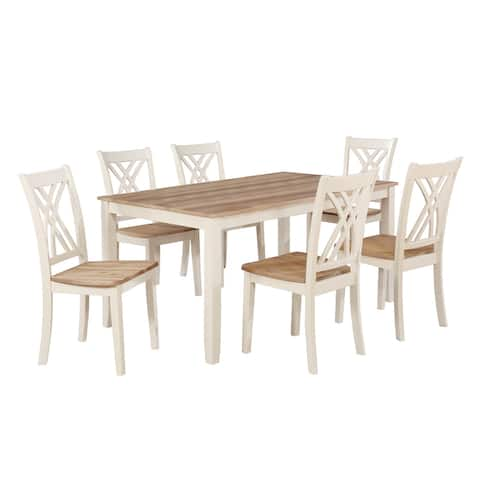 7 Piece Wooden Dining Set with 6 Leatherette Chairs and 1 Table, Brown
