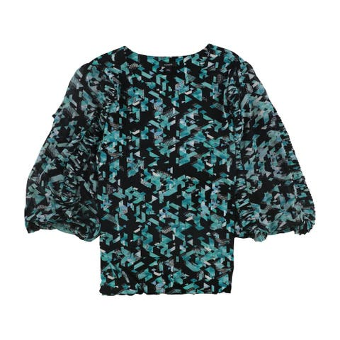 Alfani Womens Pleated Ruffle Pullover Blouse, Green, Large