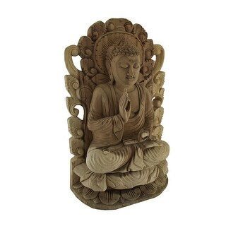 Meditating Buddha Hand Carved Wood Wall Relief