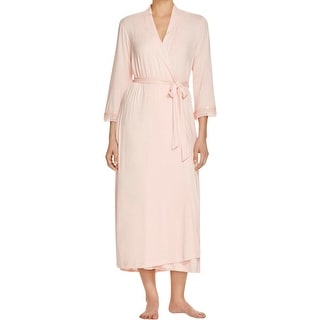 Oscar de la Renta Womens Long Robe Embroidered Trim 3/4 Sleeves - XS/S