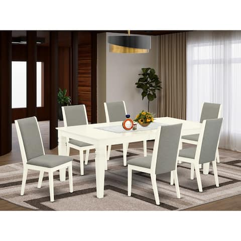 WELA7-BLK-47 7-Piece kitchen dining table set- 6 Parson Chairs and butterfly leaf wood table--High back & Black Finish