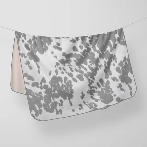 Glenna Jean Crib Quilt Baby Blanket Super Soft and Warm Cow Animal Print Grey & White