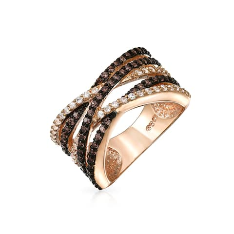 Bling Jewelry Criss Cross Rose Gold Plated Pave Clear and Coffee CZ Ring
