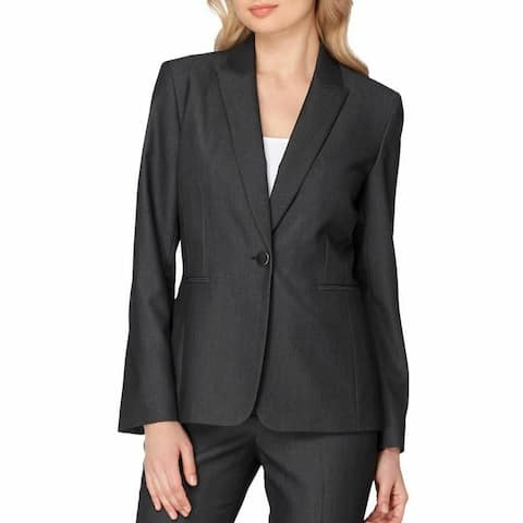 Tahari by ASL Women's Blazer Gray Size 14 Single-Button Notched