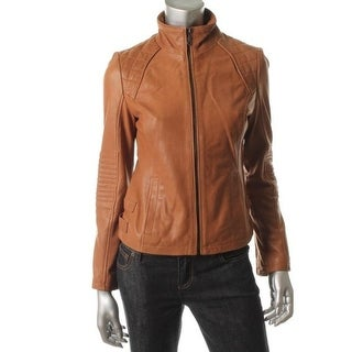 DKNY Womens Leather Quilted Motorcycle Jacket - XS