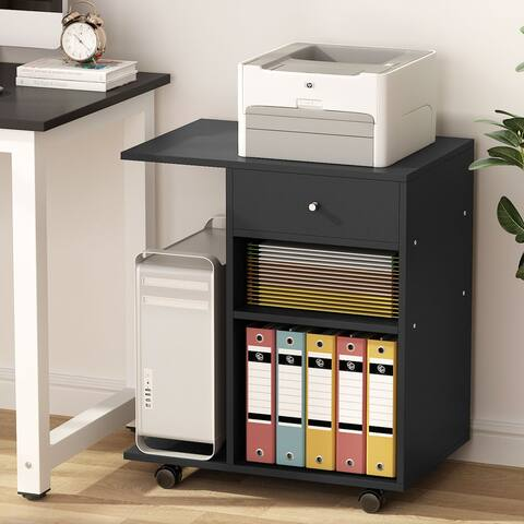 Mobile printer stand, black side filing cabinet office cart, with 4 wheel storage drawer, computer side desk machine cart