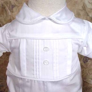 Baby Boys White Cotton Pleated Christening Baptism Outfit Suit 3-24M