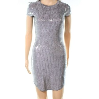 Jump Apparel NEW Silver Womens Size Large L Sequinced Sheath Dress
