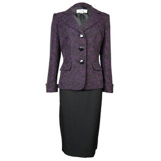 Le Suit Women's Patterned Vienna Skirt Suit - Plum/Black