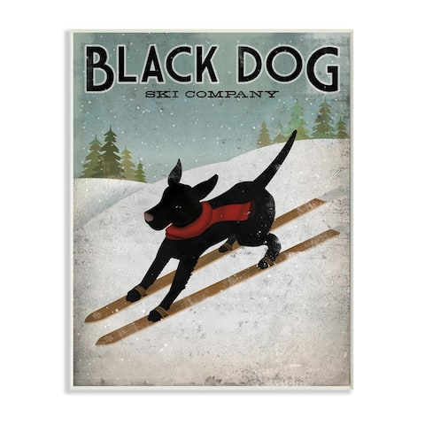 Stupell Industries Black Dog Ski Company Winter Sports Pet Sign Wood Wall Art - Blue