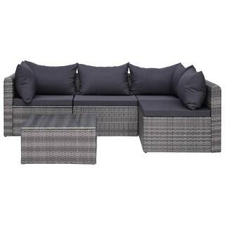 vidaXL 5 Piece Garden Sofa Set with Cushions & Pillows Gray