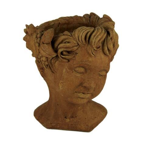 Designer Stone Rustic Brown Cherub Head Concrete Planter - 13 X 9.25 X 9 inches
