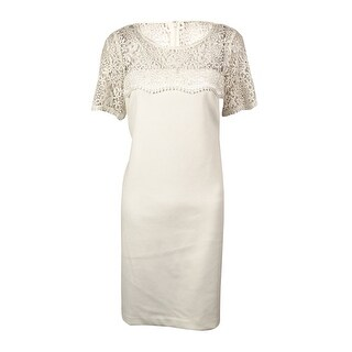 Jessica Simpson Women's Lace Shoulder and Neckline Dress - Ivory - 6