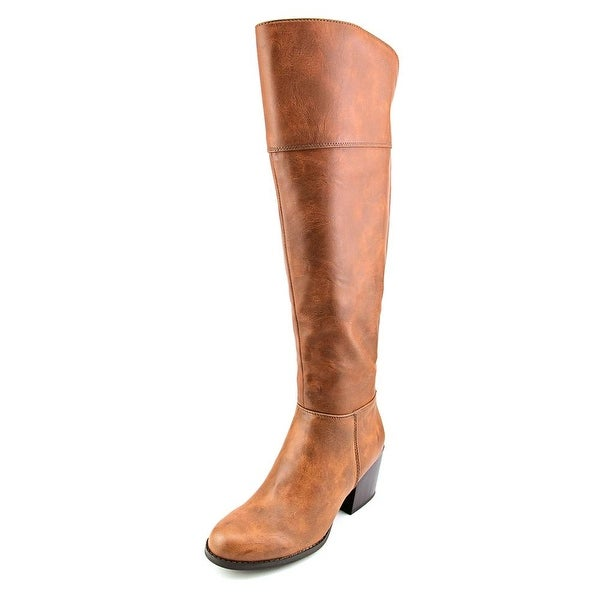 Madden Girl Wendiee Round Toe Leather Over the Knee Boot
