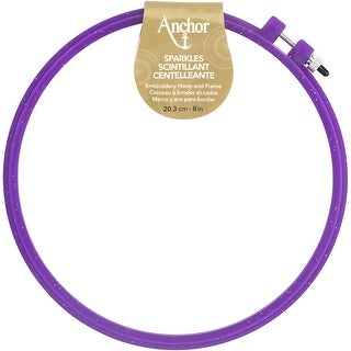 "8"" Diameter Blue; Purple Or Yellow - Anchor Sparkle Plastic Embroidery Hoop Assorted Colors"
