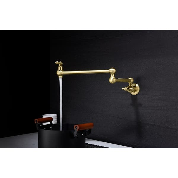 Double Joint Swing Arms Solid Brass Folding Gold Pot Filler Faucet Wall Mount