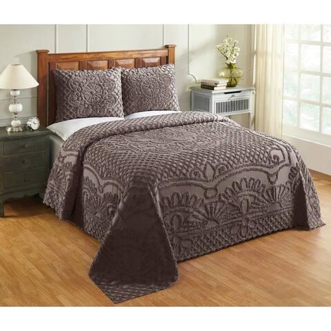 Better Trends Trevor 100% Cotton Tufted Chenille Medallion Design Bedspread Set
